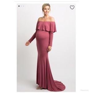 Dark Muave Ruffle Maternity Photoshoot Gown